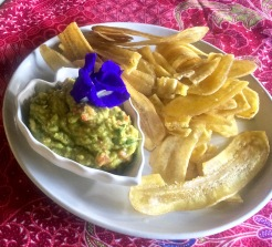 Guacamole with banana chips