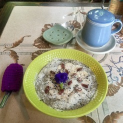 Chia Pudding with bananas, coconut, goji berry, chai & a splash of coconut milk