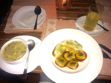 Nepali styled bruschetta & mushroom soup