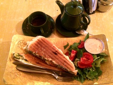 Tomato, pesto panini with jasmine tea
