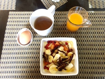 Pomegranate, banana, date porridge