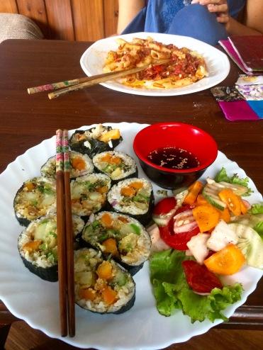 Sushi and pasta marinara